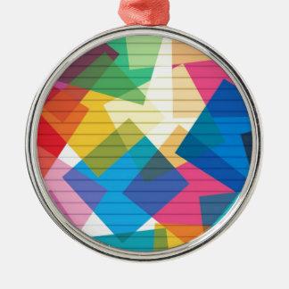 rainbow pastel colors fabric design circles Antiqu Silver-Colored Round Decoration