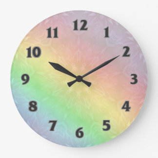 Rainbow Pastel Mandala design Large Clock