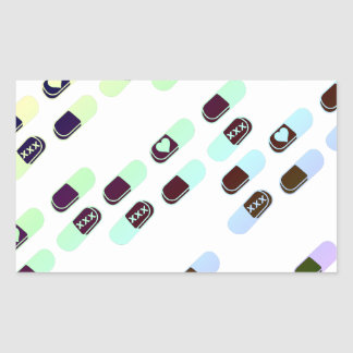 Rainbow Pastel Pills Pattern Rectangular Sticker