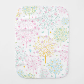 Rainbow Pastel Trees Hand Drawn Doodle Print Baby Burp Cloths