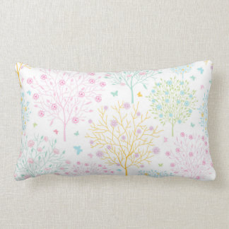 Rainbow Pastel Trees Hand Drawn Doodle Print Pillow