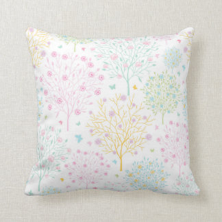 Rainbow Pastel Trees Hand Drawn Doodle Print Throw Pillows