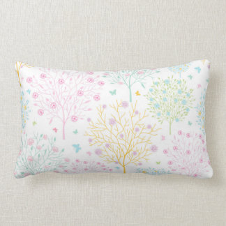 Rainbow Pastel Trees Hand Drawn Doodle Print Lumbar Cushion