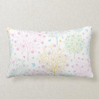 Rainbow Pastel Trees Hand Drawn Doodle Print Lumbar Pillow
