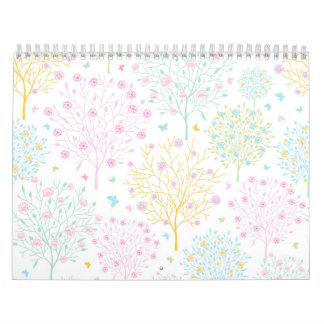 Rainbow Pastel Trees Hand Drawn Doodle Print Wall Calendar