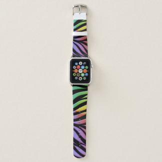 Rainbow Pattern Candy Black Apple Watch Band