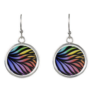Rainbow Pattern Candy Black Earrings