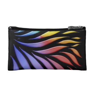 Rainbow Pattern Candy Black Makeup Bag