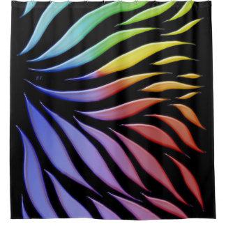 Rainbow Pattern Candy Black Shower Curtain