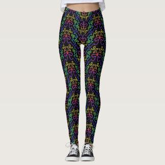Rainbow Pattern on Black Background Leggings
