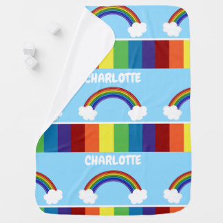 Rainbow Pattern Personalised Colourful Baby Blanket