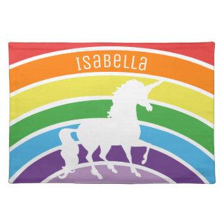 Rainbow Pattern White Unicorn Personalized Pretty Placemat