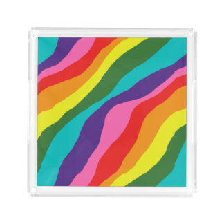 Rainbow Patterns Acrylic Tray