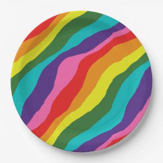 Rainbow Patterns Paper Plate