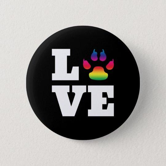 Rainbow paw 6 cm round badge