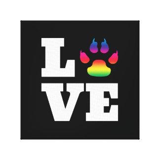 Rainbow paw canvas print