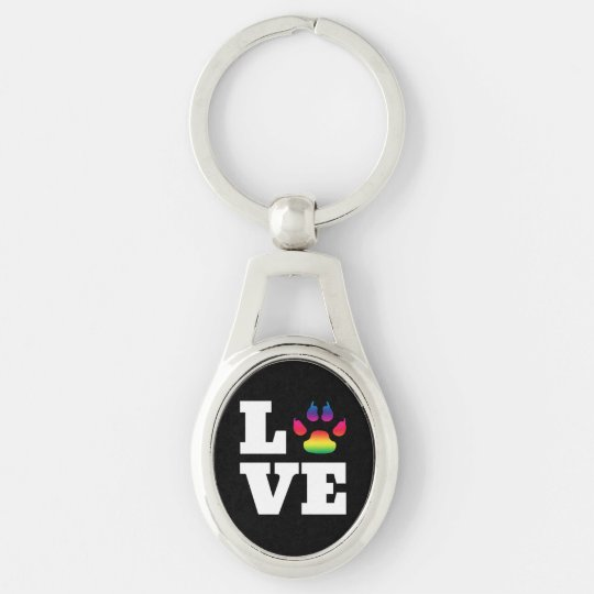 Rainbow paw key ring