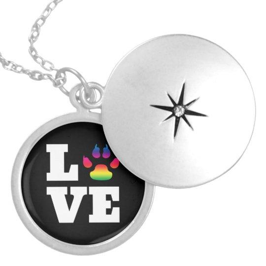 Rainbow paw locket necklace