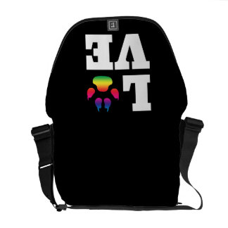 Rainbow paw messenger bag