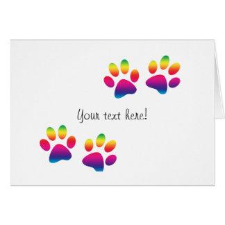 Rainbow Paw Print Greeting Card