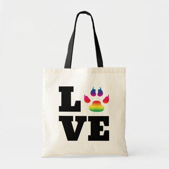 Rainbow paw tote bag