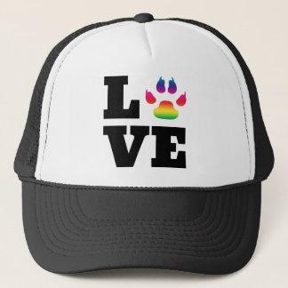 Rainbow paw trucker hat
