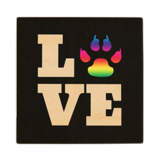 Rainbow paw wood coaster