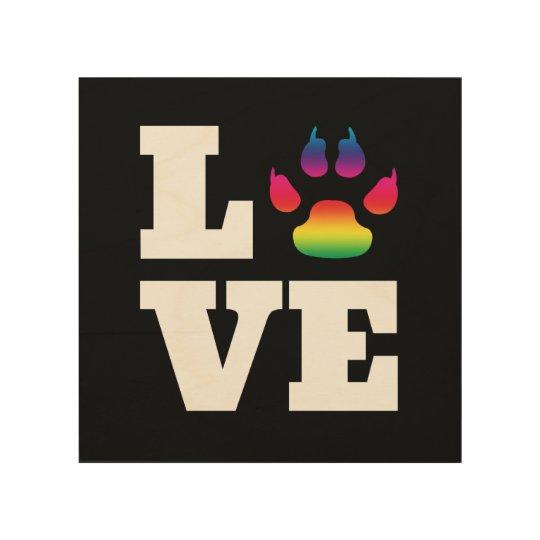 Rainbow paw wood wall decor