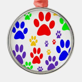 rainbow paws metal ornament