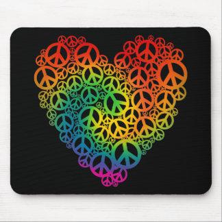 Rainbow Peace Heart Mouse Pad
