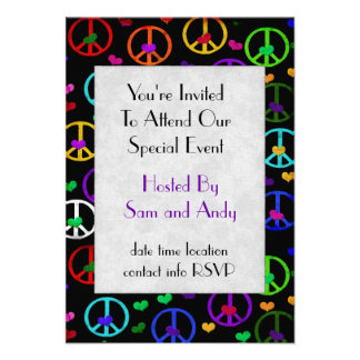 Rainbow Peace Hearts Personalized Announcement