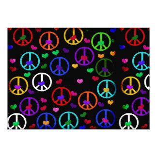 Rainbow Peace Hearts Invitation