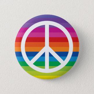 Rainbow Peace Sign 6 Cm Round Badge