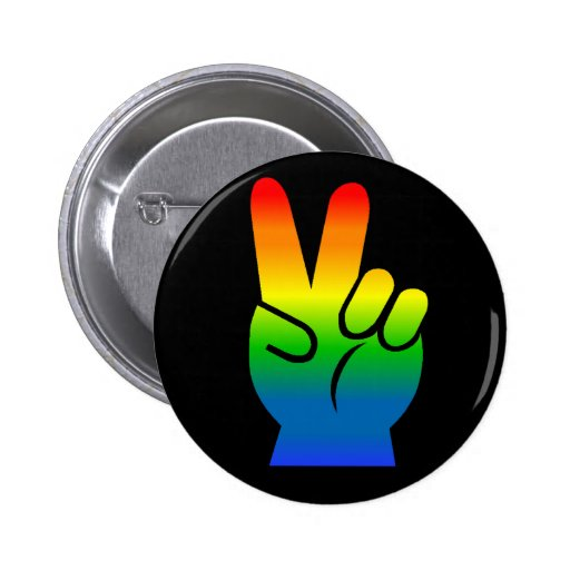 Rainbow Peace Sign Pinback Button