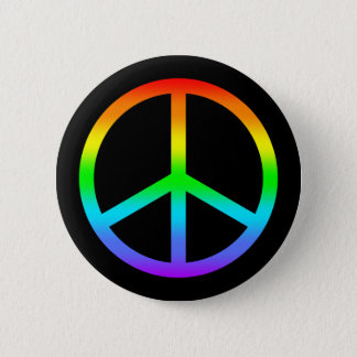 Rainbow Peace Sign Button