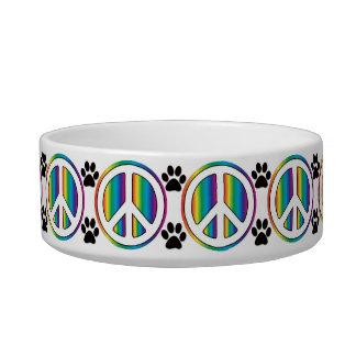 Rainbow peace sign cat food bowl