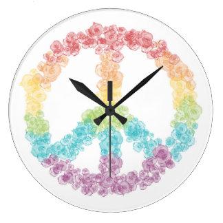 Rainbow Peace Sign Clock