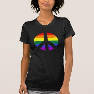 Rainbow Peace Sign Design Tee Shirts