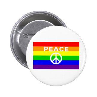 Rainbow peace sign flag 6 cm round badge