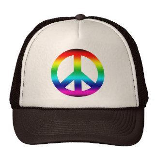 Rainbow Peace Sign Mesh Hats