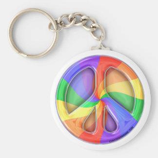 Rainbow Peace Sign Key Ring