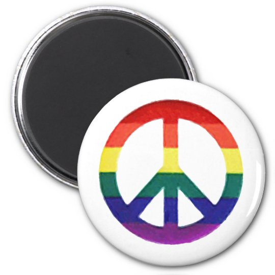 Rainbow Peace-Sign Magnet