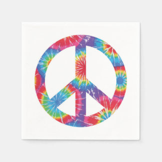Rainbow Peace Sign Napkins 60s sixties party Paper Serviettes
