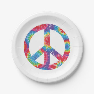 Rainbow Peace Sign Paper Plates 60s sixties party