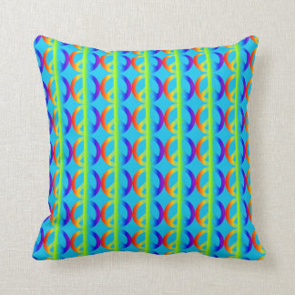 Rainbow Peace Sign Pattern on Aqua Cushion