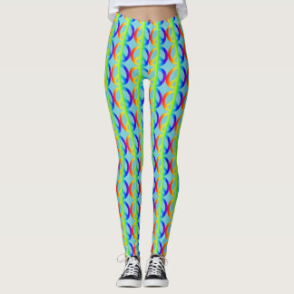 Rainbow Peace Sign Pattern on Teal Leggings