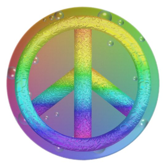 Rainbow Peace Sign Plate