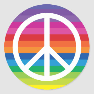 Rainbow Peace Sign Round Sticker