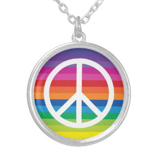 Rainbow Peace Sign Silver Plated Necklace
