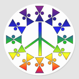 Rainbow Peace Sign Spiral Classic Round Sticker